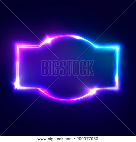 Night Club Neon Sign. Blank 3d Retro Light Signboard With Shining Neon Effect. Colorful Vector Illustration in 80s Style
