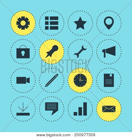 Editable Pack Of Clock, Gear, Bookmark And Other Elements.  Vector Illustration Of 16 Web Icons.