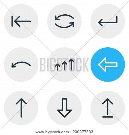 Editable Pack Of Upwards, Increase, Turn And Other Elements.  Vector Illustration Of 9 Arrows Icons.