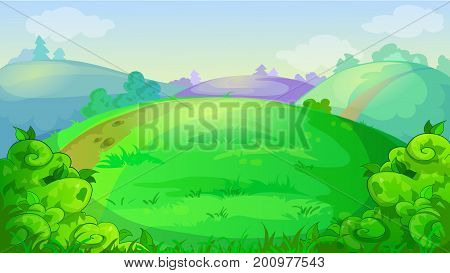 Vector game background with summer meadow, hills, and bushes
