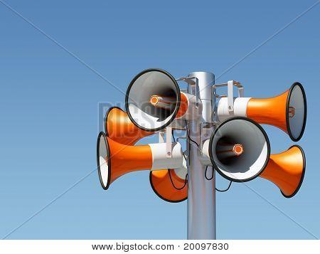 eight loudspeaker mast