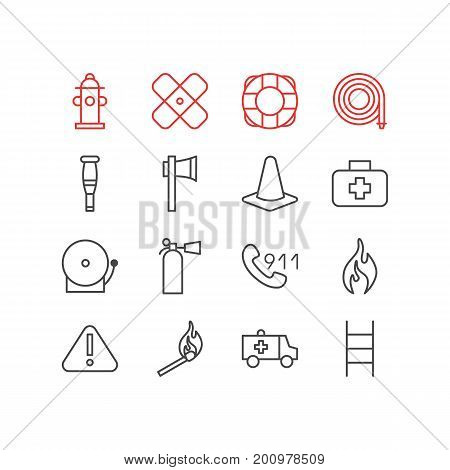 Editable Pack Of Stairs, Taper, Spike And Other Elements.  Vector Illustration Of 16 Emergency Icons.
