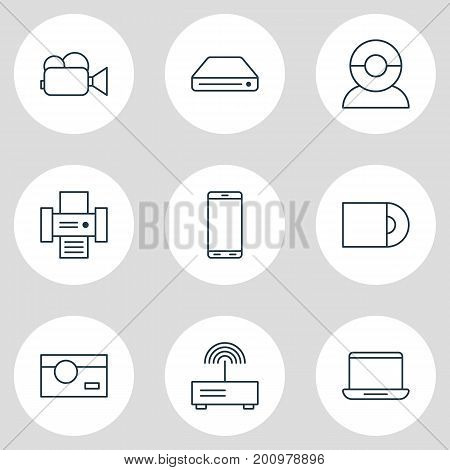Editable Pack Of Camcorder, Smartphone, Computer And Other Elements.  Vector Illustration Of 9 Hardware Icons.