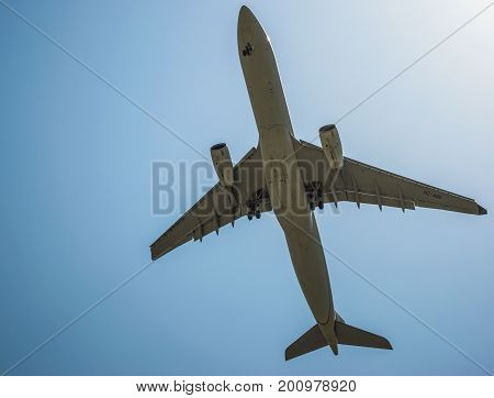 large jet aircraft on landing close to the airport