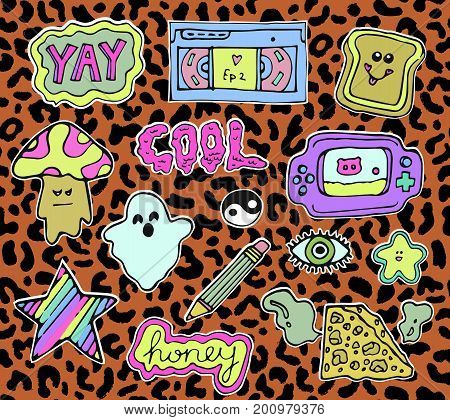 Trendy fashion stickers or patches set with cute Back to school design elements and slang phrases in 80s 90s cartoon style. Vector