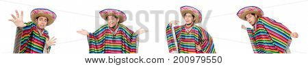 Funny man wearing poncho isolated on white