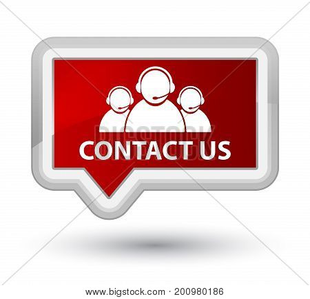 Contact Us (customer Care Team Icon) Prime Red Banner Button