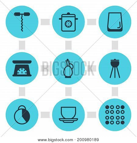 Editable Pack Of Barbecue, Wine Opener, Glass Cup And Other Elements.  Vector Illustration Of 9 Kitchenware Icons.