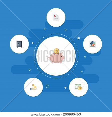 Flat Icons Pie Bar, Profit, Safe And Other Vector Elements