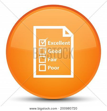 Questionnaire Icon Special Orange Round Button