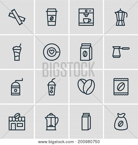 Editable Pack Of Bag, Coffee To Go, House And Other Elements.  Vector Illustration Of 16 Coffee Icons.