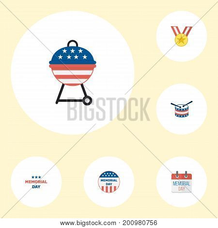 Flat Icons Barbecue, History, Holiday And Other Vector Elements