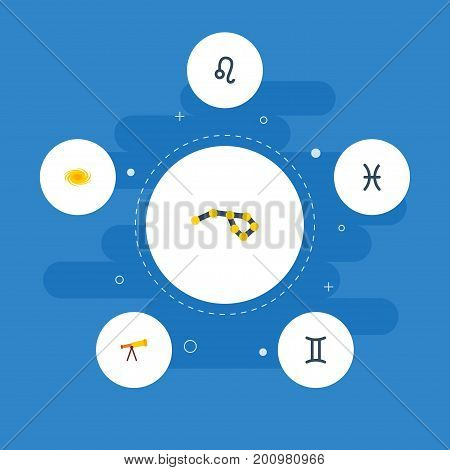 Flat Icons Twins, Optics, Horoscope And Other Vector Elements