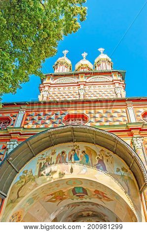The Frescoes On Gate Church Of St Sergius Lavra In Sergiyev Posad