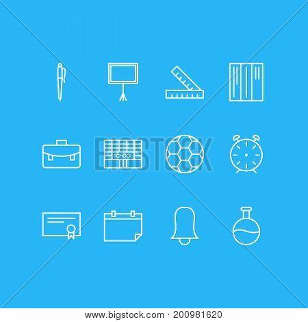 Editable Pack Of Bookshelf, Tube, Portfolio And Other Elements.  Vector Illustration Of 12 Education Icons.