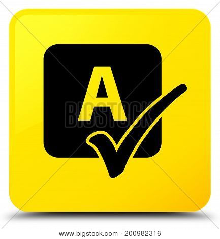 Spell Check Icon Yellow Square Button