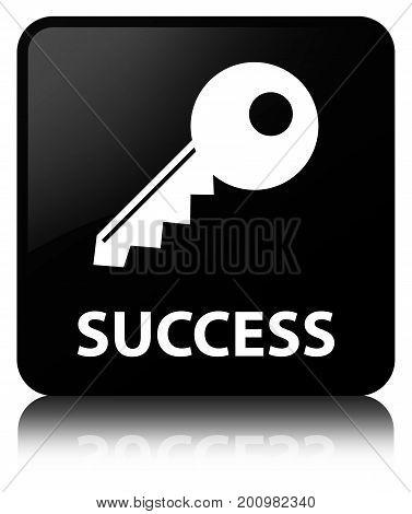 Success (key Icon) Black Square Button