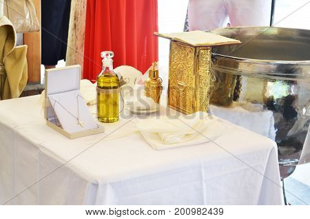 greek Orthodox christening - baptism oil, gold cross and soap