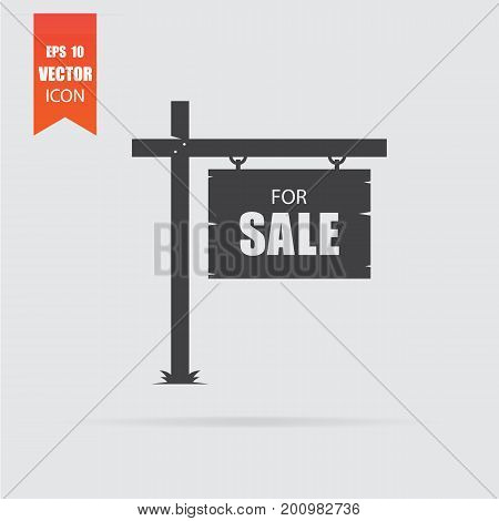 Sale Icon In Flat Style Isolated On Grey Background.