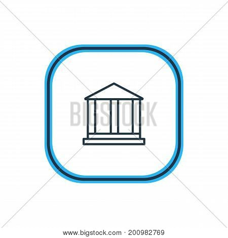 Beautiful Infrastructure Element Also Can Be Used As Courthouse Element.  Vector Illustration Of Academy Outline.