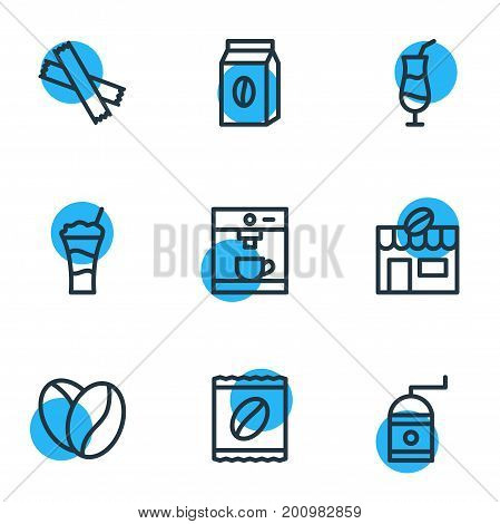 Editable Pack Of Package Latte, Package, Mocha And Other Elements.  Vector Illustration Of 9 Java Icons.
