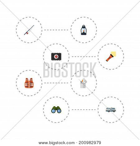 Flat Icons Lighter, Fishing, Zoom And Other Vector Elements