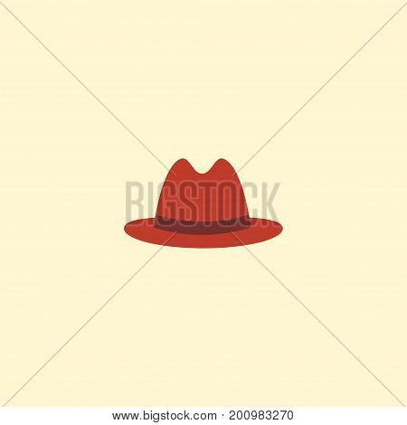 Flat Icon Panama Element. Vector Illustration Of Flat Icon Fedora Isolated On Clean Background