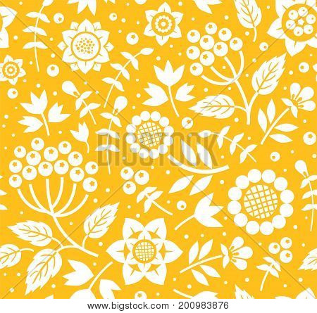 Berries and twigs, decorative background, seamless, yellow, vector.  White twigs with berries and leaves on yellow background. Vector, floral pattern.