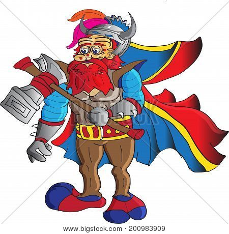 A dwarf ,with red beard ,armed with a Warhammer  wearing a long cape and a horned helmet.
