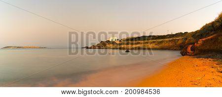 Panoramic view of pirgaki church in Paros island in Greece.