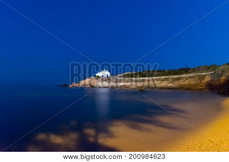 Paros island in Greece. Pirgaki church during the blue hour.