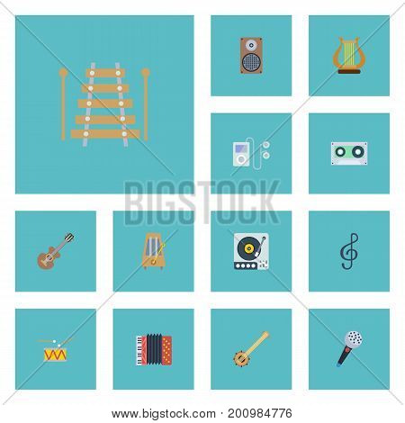 Flat Icons Mp3 Player, Quaver, Tambourine And Other Vector Elements