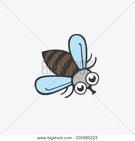 Funny vector icon fly. Flat Illustration for your design
