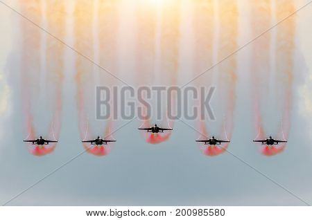 Five Fighter Jets Fly Together With Red Smoke