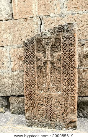 Carved medieval stone cross in the Church of the Martyr St. Hripsime in Echmiadzin