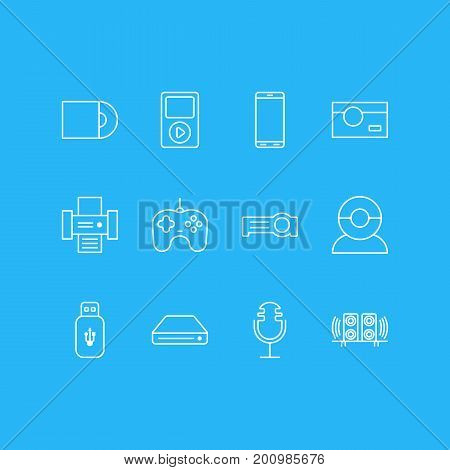 Editable Pack Of Floodlight, Dvd Drive, Joypad And Other Elements.  Vector Illustration Of 12 Accessory Icons.