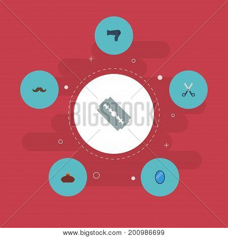 Flat Icons Looking-Glass, Blow-Dryer, Razor And Other Vector Elements