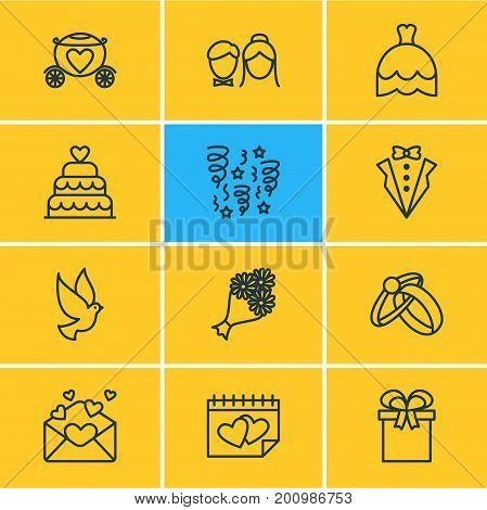 Editable Pack Of Present, Pigeon, Bridal Bouquet And Other Elements.  Vector Illustration Of 12 Marriage Icons.