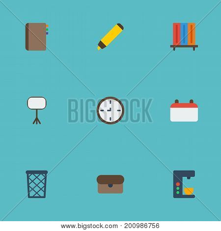 Flat Icons Board Stand, Date, Highlighter Vector Elements