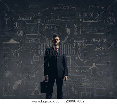 Businessman with briefcase.  Schematic background. Business and office, concept.