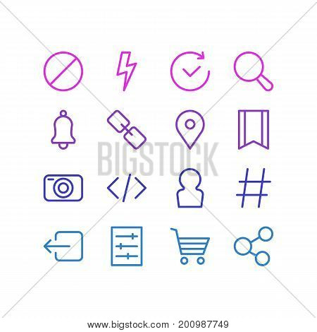 Editable Pack Of Topic, Flash, Time And Other Elements.  Vector Illustration Of 16 Annex Icons.