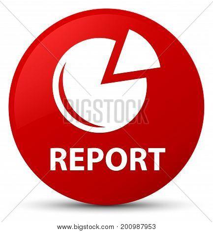 Report (graph Icon) Red Round Button