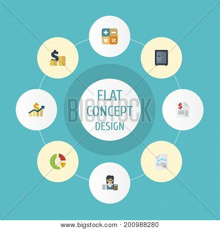 Flat Icons Algebra, Paper, Net Income And Other Vector Elements