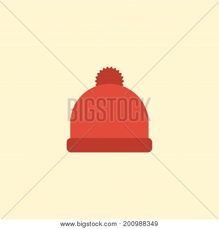 Flat Icon Beanie Element. Vector Illustration Of Flat Icon Pompom Isolated On Clean Background