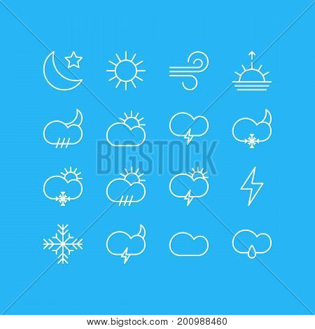 Editable Pack Of Windstorm, Crescent, Sunset And Other Elements.  Vector Illustration Of 16 Atmosphere Icons.