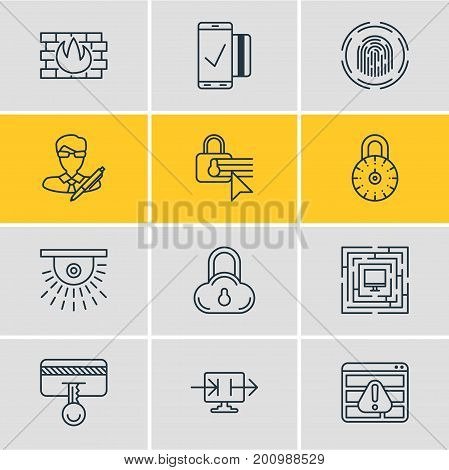Editable Pack Of Finger Identifier, System Security, Safety Key And Other Elements.  Vector Illustration Of 12 Security Icons.