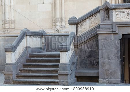 Stone Stairs At The Side Entrance Of Church