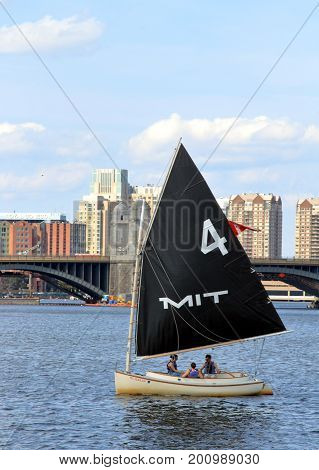 Boston, Massachusetts - August 16, 2017. MIT Sailing boat on Charles River in Boston, Massachusetts
