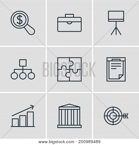 Editable Pack Of Riddle, Board Stand, File Elements.  Vector Illustration Of 9 Trade Icons.