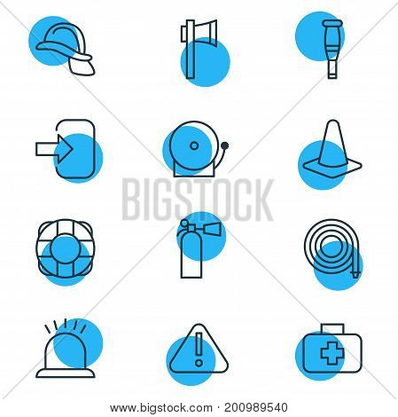 Editable Pack Of Siren, Ax, Alarm And Other Elements.  Vector Illustration Of 12 Necessity Icons.